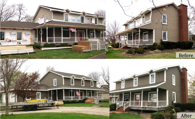 A house in Washington, IL gets new siding