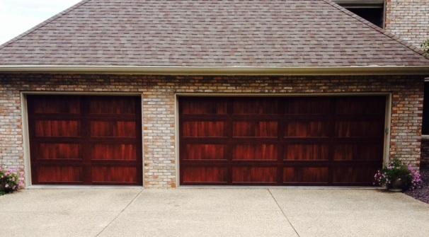 Faux wooden garage doors