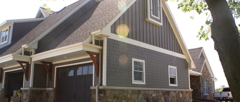 James hardie fiber cement shakes carlson exteriors inc for Lp smartside board and batten