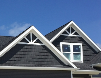 Diy carlson exteriors inc home with grey siding and dark grey shakes with black roof carriage style garage door and solutioingenieria Choice Image