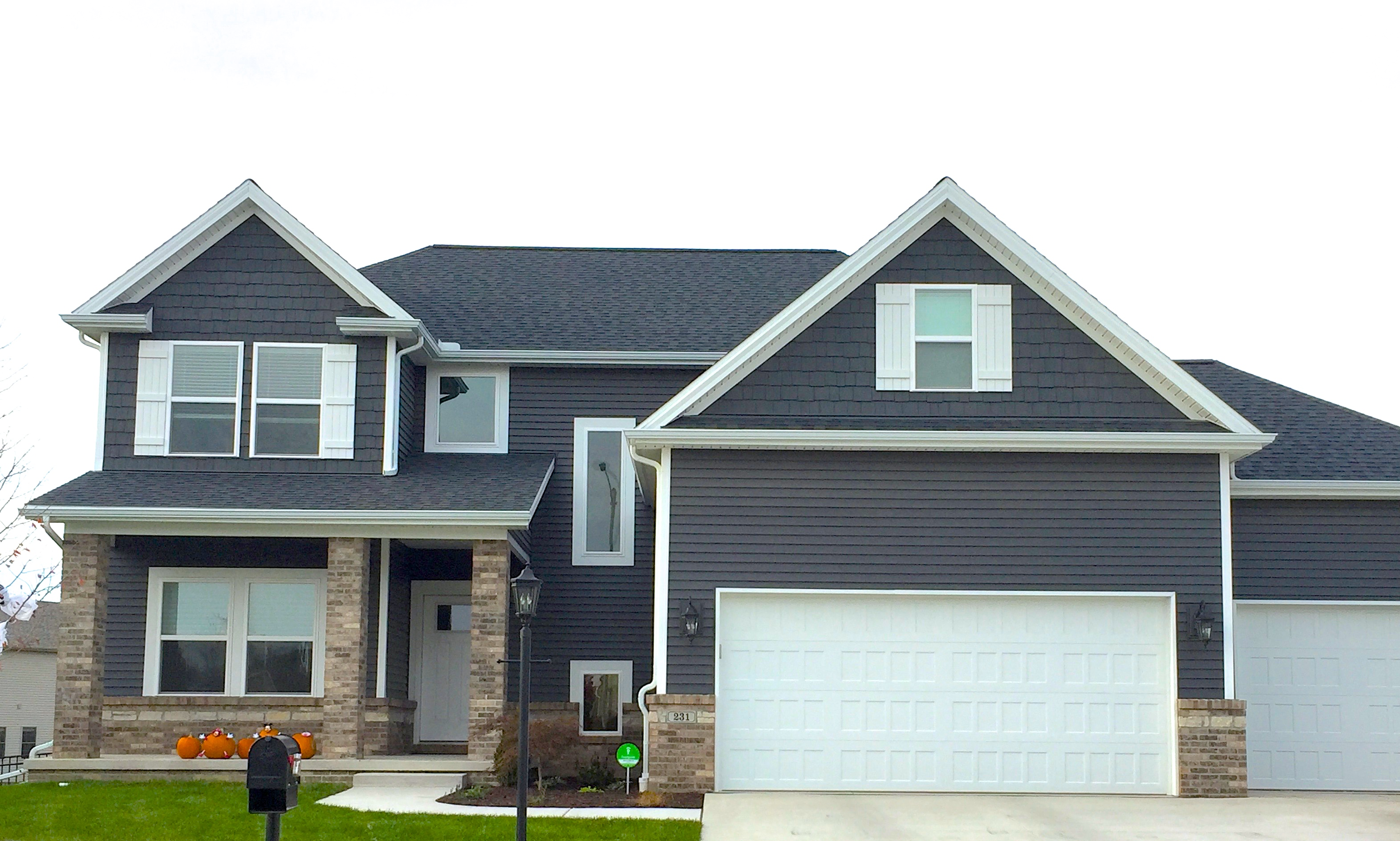 Royal ironstone dark grey siding white trim white shutters certainteed moire black roof morton - Black house with white trim ...