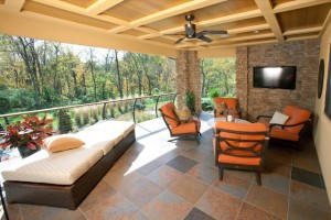 covered porch with fan and tv and nice patio furniture