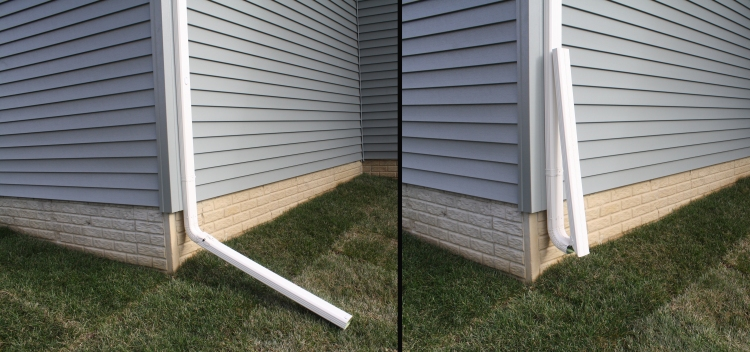 downspout extension laying down and then in the up position
