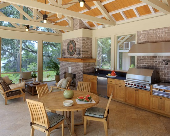 covered porch with full kitchen and fire place