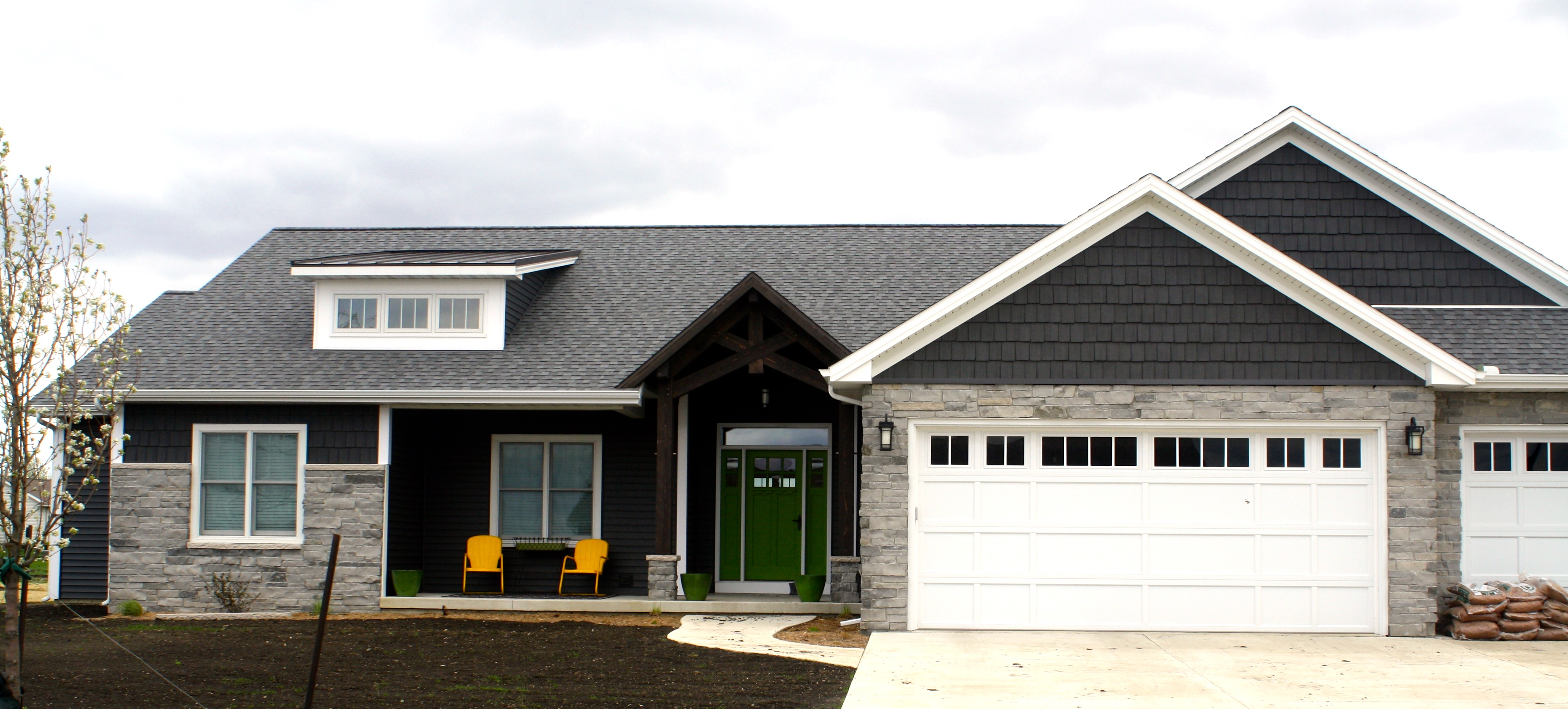 Ironstone Dark Grey Siding With Pewter Grey Shingles And White Trim