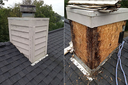 cedar siding on chimney. Underneath chimney is rotted usb