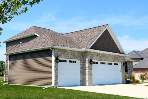 White long panel garage doors with mission window inserts in Bloomington IL
