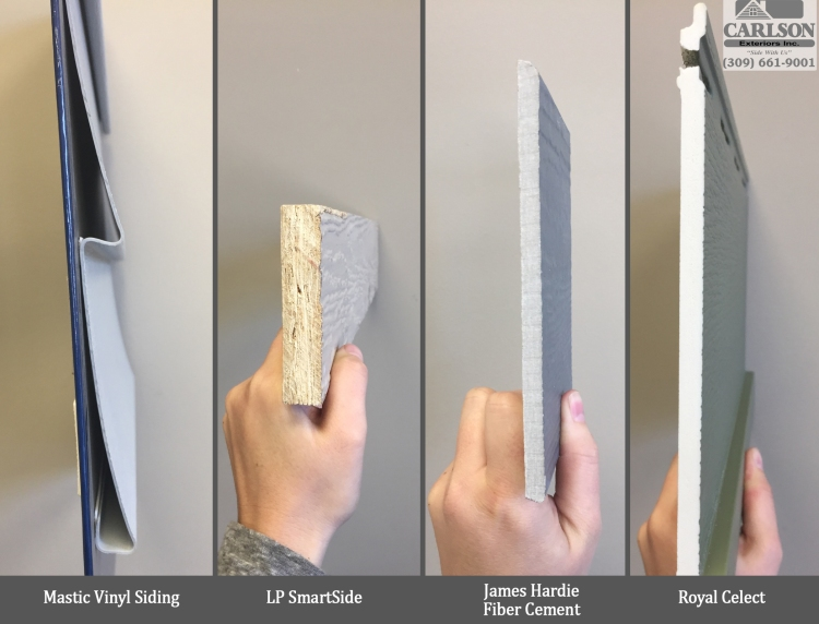 Hardboard Profiles comparing mastic vinyl to lp smartside to james hardie fiber cement to royal celect siding
