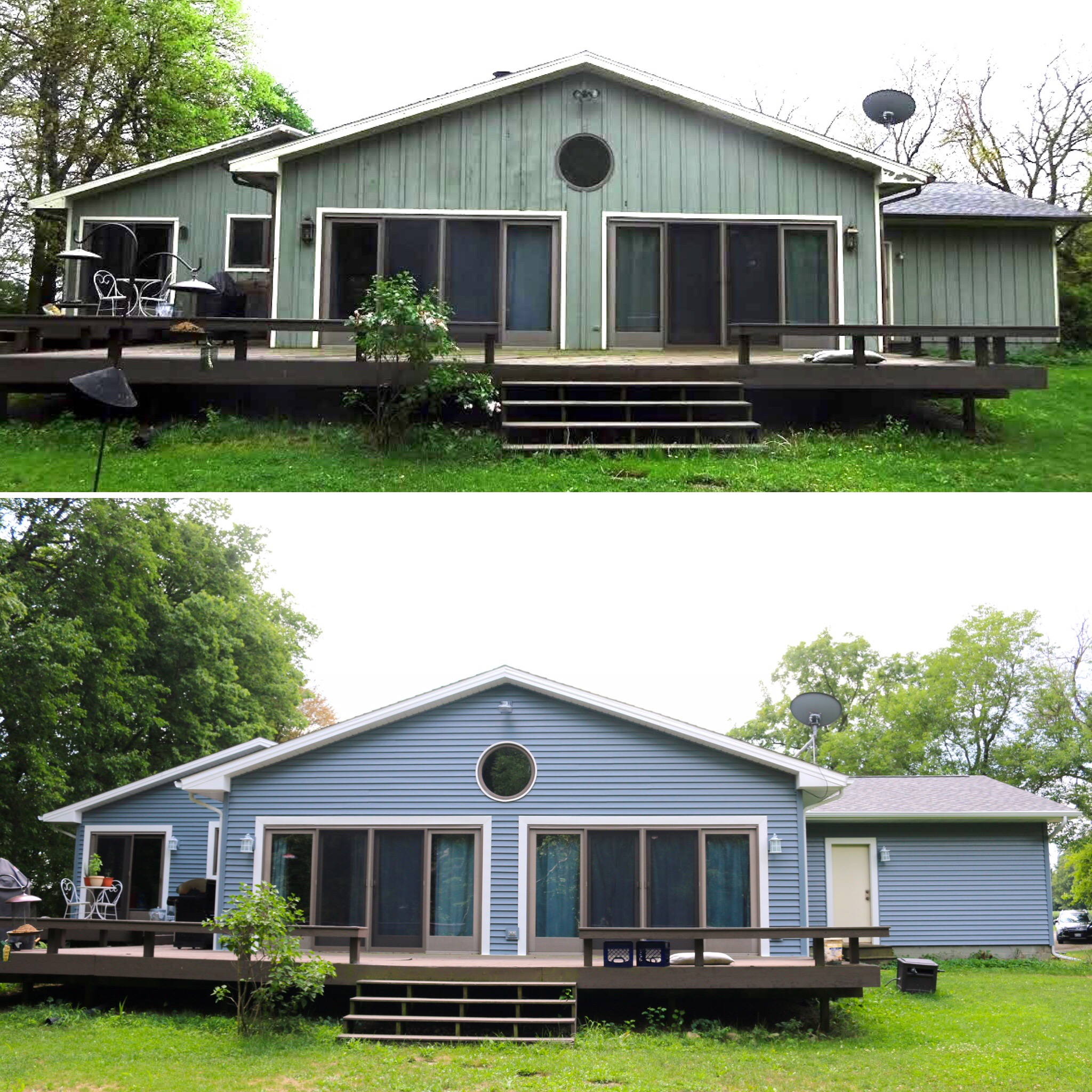 before and after pictures of new siding on home in bloomington il
