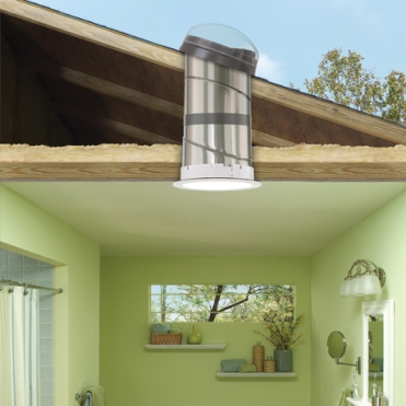 The sun tunnel brings natural light to rooms that wouldn't be able to have a skylight installed
