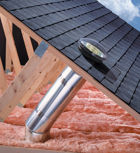 Velux Sun tunnel has a sheet metal tube reflecting light dow the tunnel