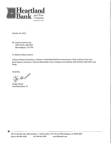 Bank Reference letter for Carlson Exteriors 2017-2018