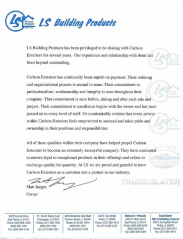 Carlson Exteriors Supplier Letter