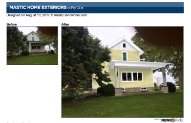 Mastic Software takes your home and transforms it so you can see different siding products on your home.