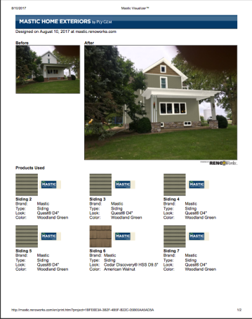 This sheet breaks down the mastic siding and shake products that were used on this home.
