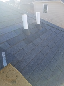 A Roof leak was caused by cracked pipe boots. New pipe boots were added and shingles around were replaced with best matching.