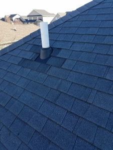 A Roof leak was caused by cracked pipe boot. A new pipe boot were added and shingles around were replaced with best matching.