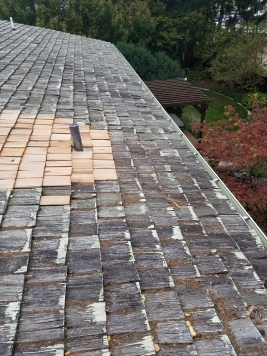 Wood shake roof repair in Bloomington il, the roof was leaking