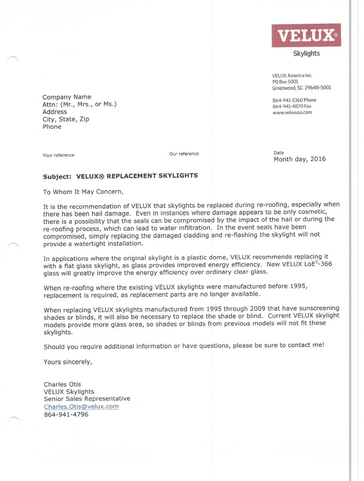 Velux letter about replacing skylights after a hail storm