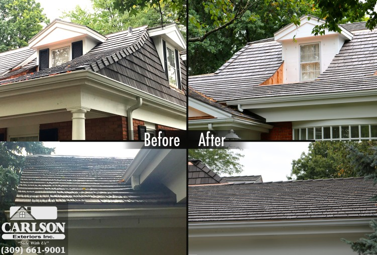 Before after bloomingotn il wood shake roof install