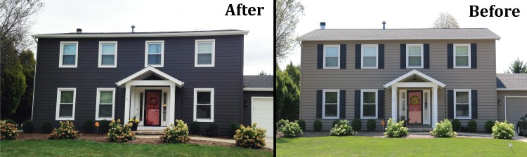 The new siding is a wrought iron dark grey with white trim