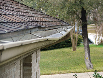 Sagging gutters are caused from improper pitch on gutters.