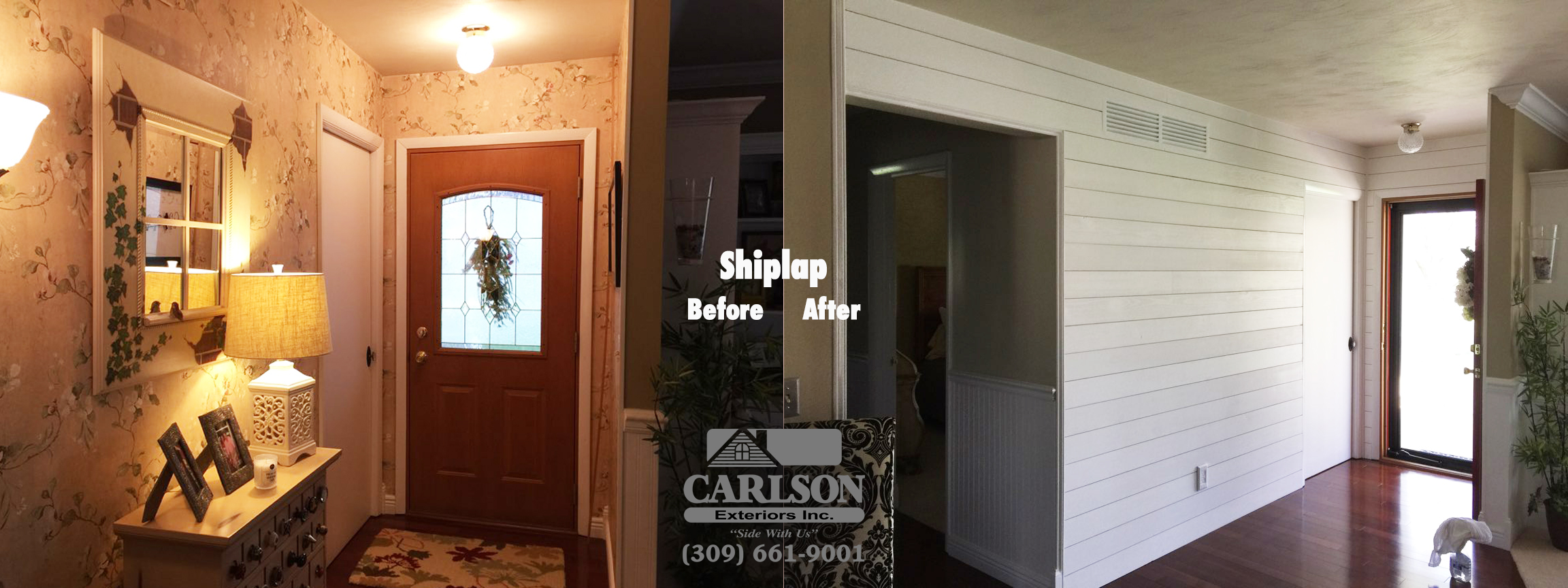 Mary Took Shiplap Install In Entry Way Danvers Il