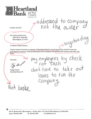 Notes to help understand what to look for in bank letters