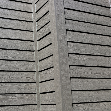 Custom color LP SMartside in dark grey siding