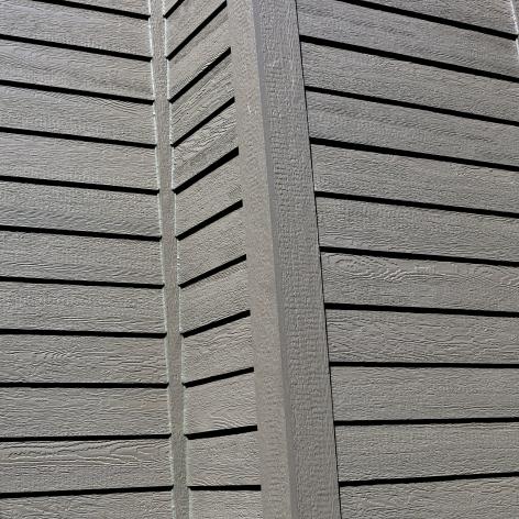 Custom color LP SMartside in dark grey siding
