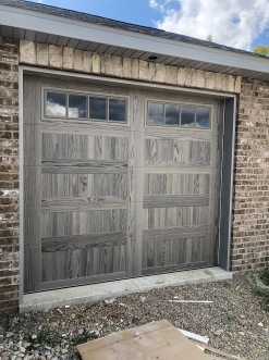 Driftwood Accent faux wood garage door