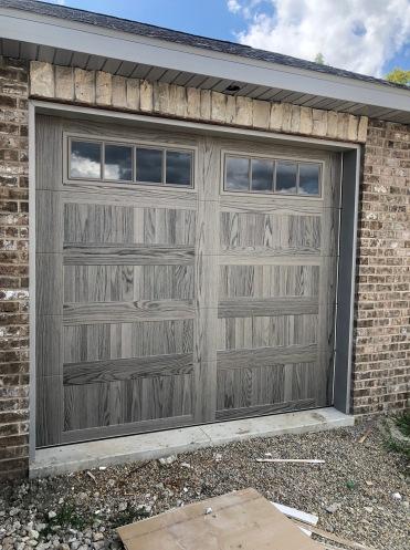 Driftwood Accent faux wood garage door