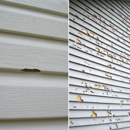 Hail damaged siding can be a small chip or entire walls riddles with holes or broken siding panels
